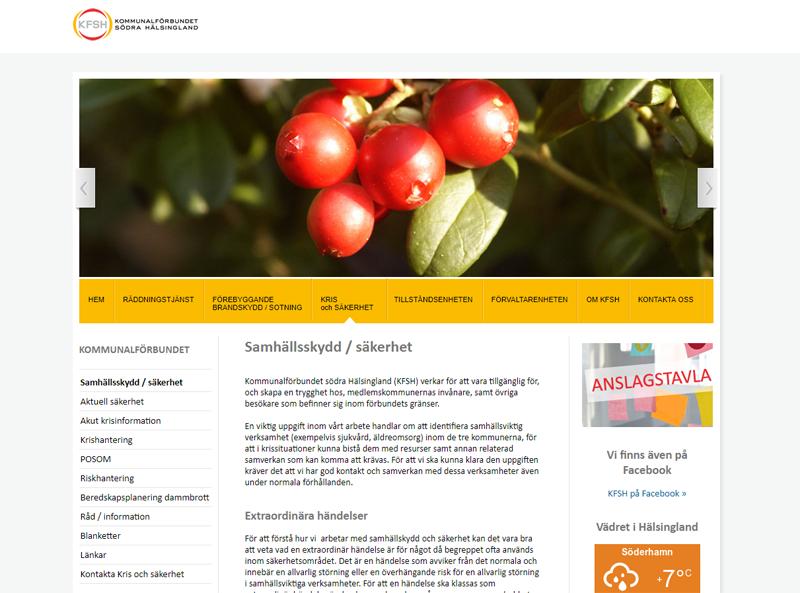 Referens hemsida till kommunalförbundet södra hälsingland, kfh
